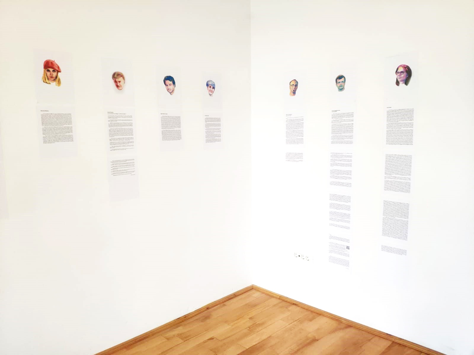 Beatrice Anghelache, How did I become leftist? What left means for you?, Watercolor portraits and texts as political biographies, 2021. Installation view. © Florin Bobu